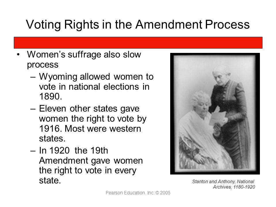 Voting Rights in the Amendment Process Women's suffrage also slow process –Wyoming allowed women to vote in national elections in 1890.