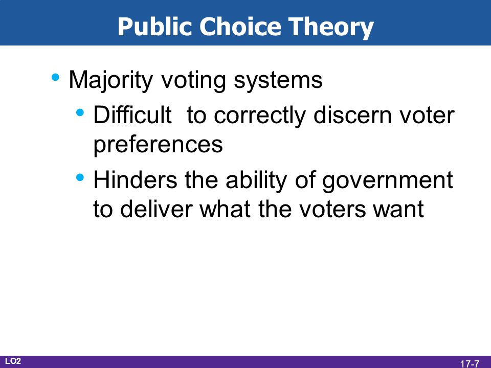 LO2 Public Choice Theory Majority voting systems Difficult to correctly discern voter preferences Hinders the ability of government to deliver what the voters want 17-7