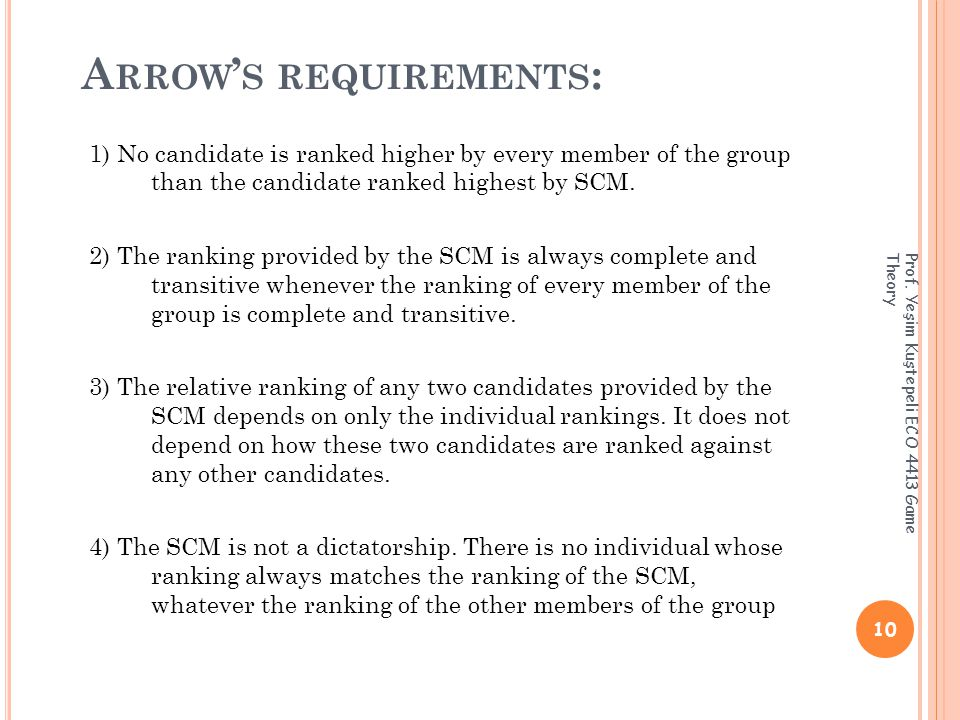 A RROW ' S REQUIREMENTS : 1) No candidate is ranked higher by every member of the group than the candidate ranked highest by SCM.