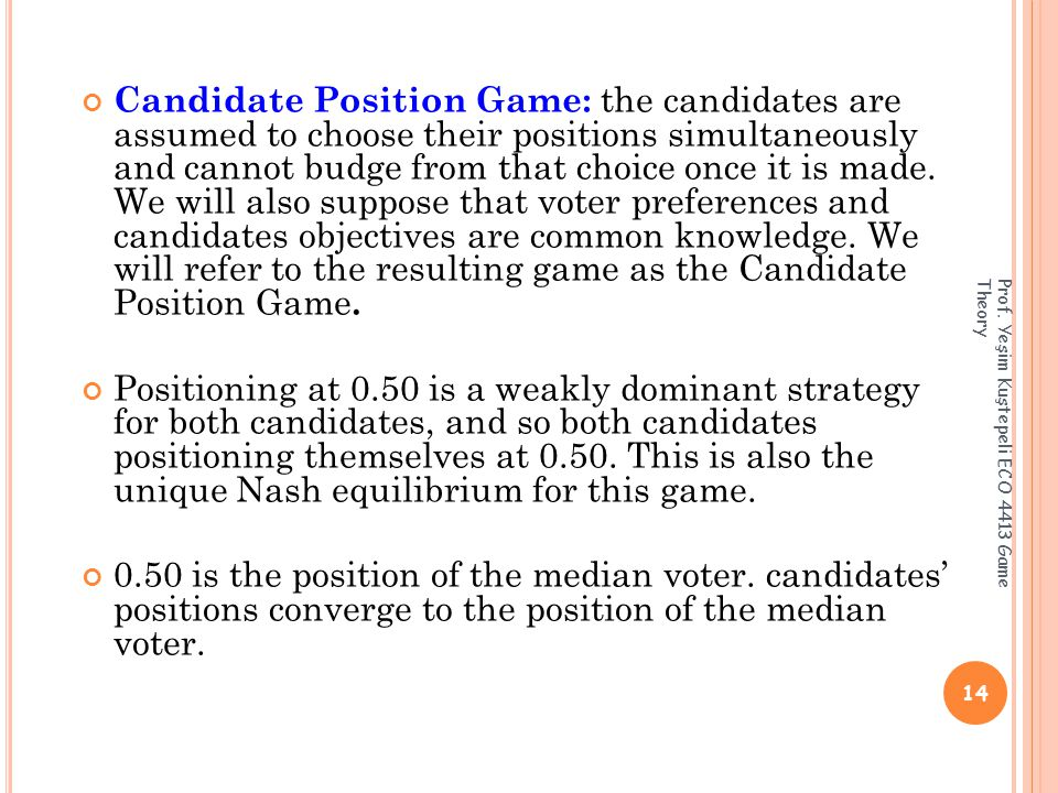 Candidate Position Game: the candidates are assumed to choose their positions simultaneously and cannot budge from that choice once it is made.