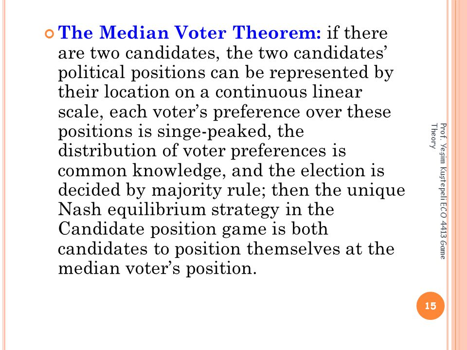 The Median Voter Theorem: if there are two candidates, the two candidates' political positions can be represented by their location on a continuous linear scale, each voter's preference over these positions is singe-peaked, the distribution of voter preferences is common knowledge, and the election is decided by majority rule; then the unique Nash equilibrium strategy in the Candidate position game is both candidates to position themselves at the median voter's position.