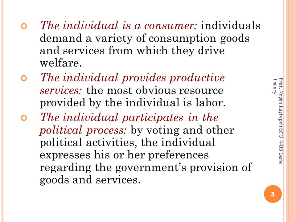 The individual is a consumer: individuals demand a variety of consumption goods and services from which they drive welfare.