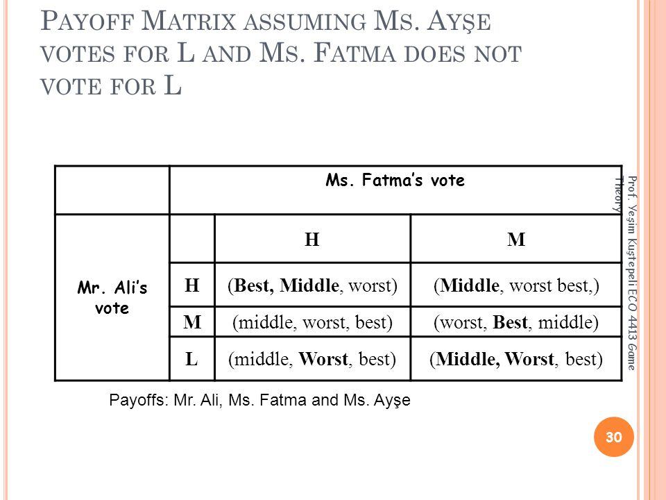 P AYOFF M ATRIX ASSUMING M S. A YŞE VOTES FOR L AND M S.