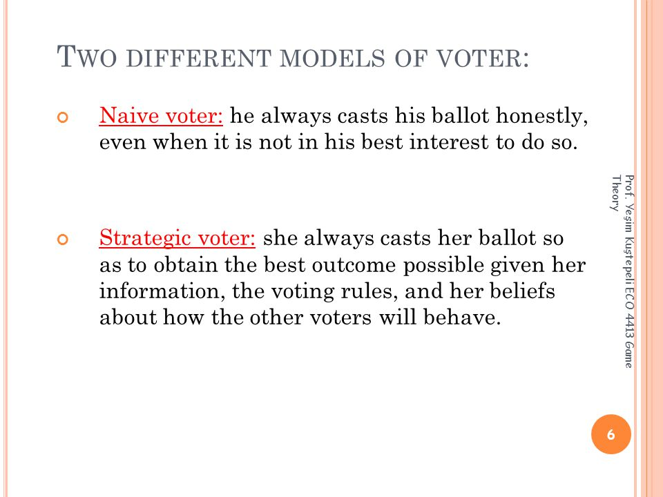 T HE S TRATEGIC V OTING M ODEL Strategic voting behavior: the game essentially reduces to a static game in which the set of strategies and the set of moves coincide.