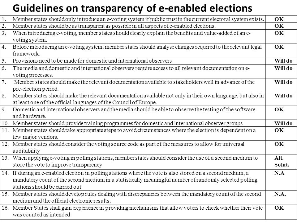 Guidelines on transparency of e-enabled elections 1.Member states should only introduce an e-voting system if public trust in the current electoral sy