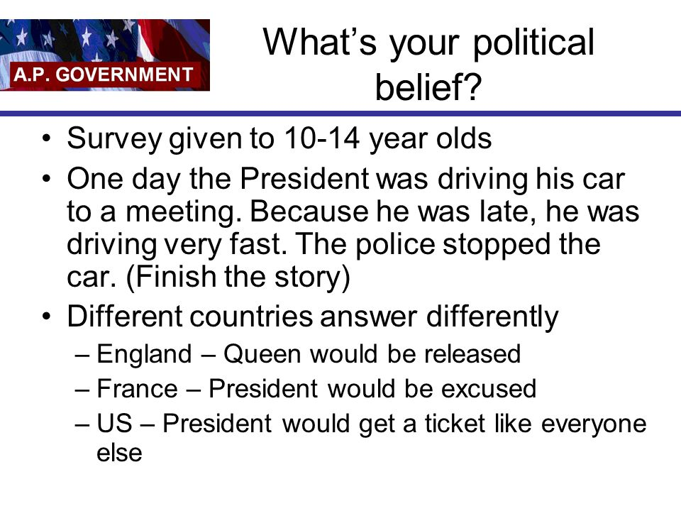 What's your political belief.