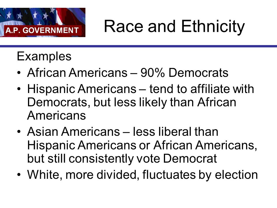 Geographic Region Example East and West Coasts – more liberal Mid-West – more conservative Urban - liberal South – 1870-1950s - Democrat Solid South but today they are primarily social conservatives White Southerner always less liberal