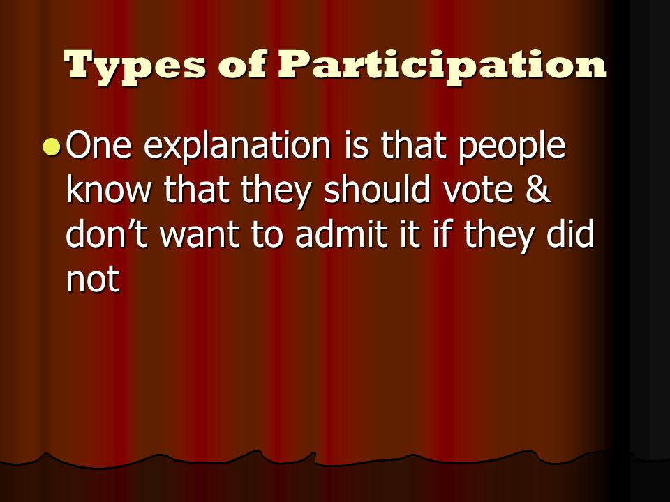 One explanation is that people know that they should vote & don't want to admit it if they did not One explanation is that people know that they should vote & don't want to admit it if they did not