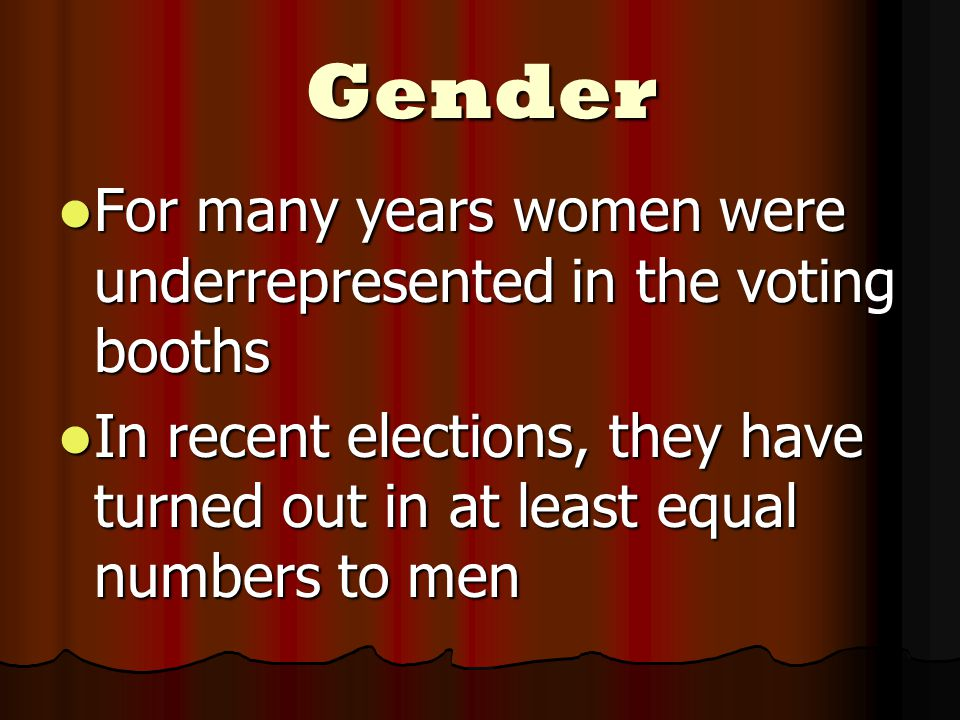 Gender For many years women were underrepresented in the voting booths For many years women were underrepresented in the voting booths In recent elections, they have turned out in at least equal numbers to men In recent elections, they have turned out in at least equal numbers to men