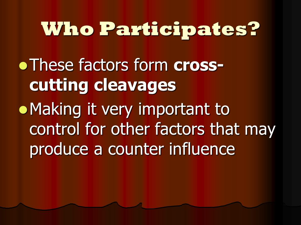 Who Participates? These factors form cross- cutting cleavages These factors form cross- cutting cleavages Making it very important to control for othe