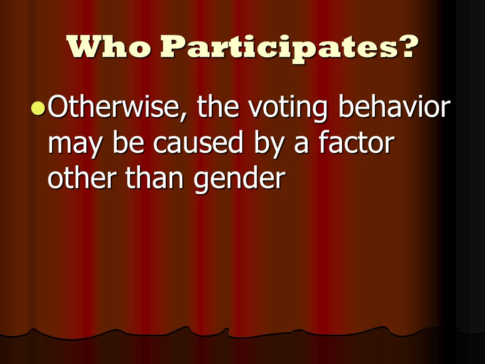 Who Participates? Otherwise, the voting behavior may be caused by a factor other than gender Otherwise, the voting behavior may be caused by a factor