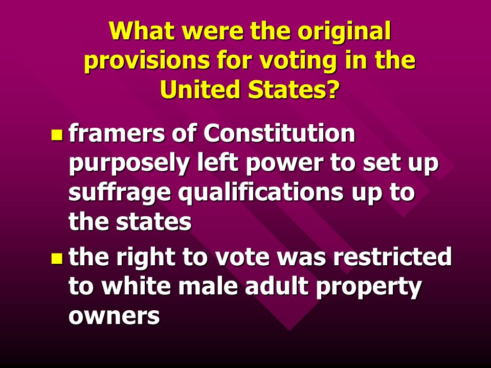 What were the original provisions for voting in the United States? framers of Constitution purposely left power to set up suffrage qualifications up t