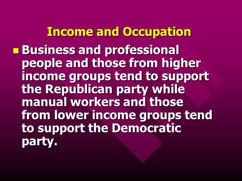 Income and Occupation Business and professional people and those from higher income groups tend to support the Republican party while manual workers a