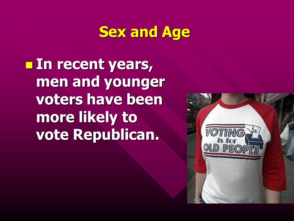 Sex and Age In recent years, men and younger voters have been more likely to vote Republican. In recent years, men and younger voters have been more l