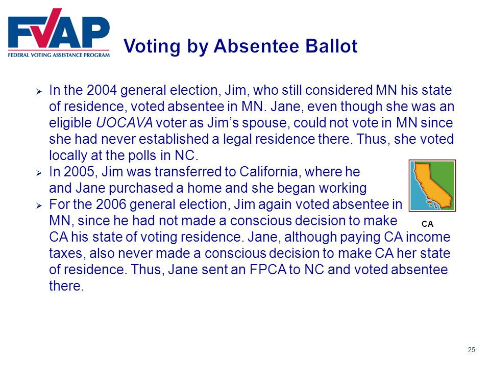 25  In the 2004 general election, Jim, who still considered MN his state of residence, voted absentee in MN.