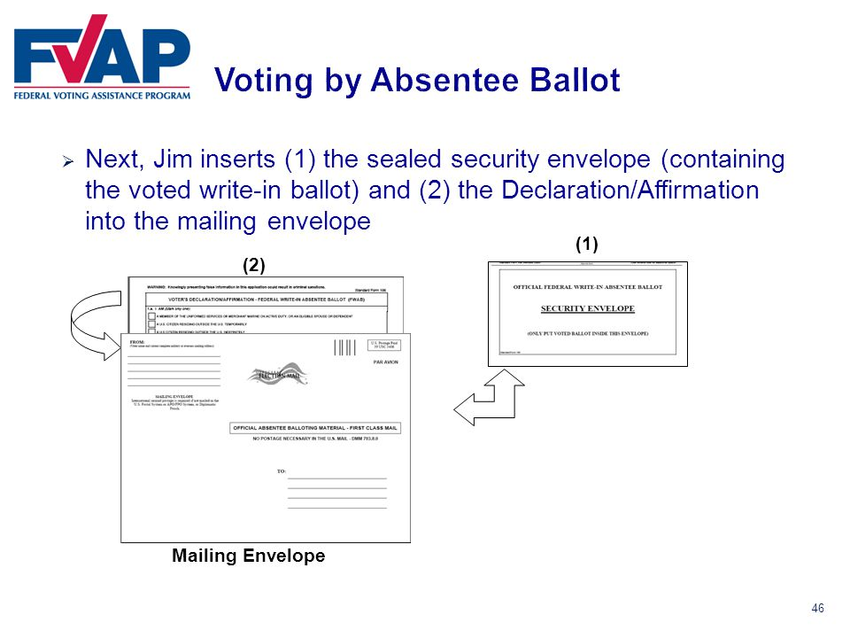 46  Next, Jim inserts (1) the sealed security envelope (containing the voted write-in ballot) and (2) the Declaration/Affirmation into the mailing envelope (1) (2) Mailing Envelope