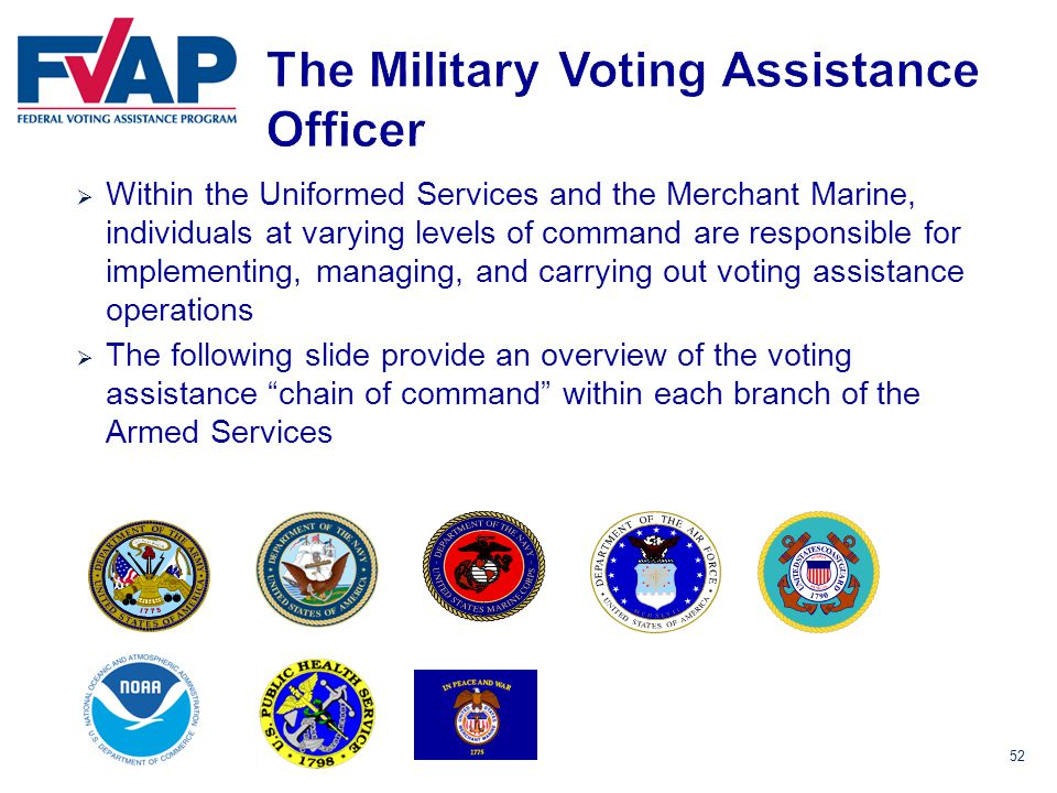 52  Within the Uniformed Services and the Merchant Marine, individuals at varying levels of command are responsible for implementing, managing, and carrying out voting assistance operations  The following slide provide an overview of the voting assistance chain of command within each branch of the Armed Services