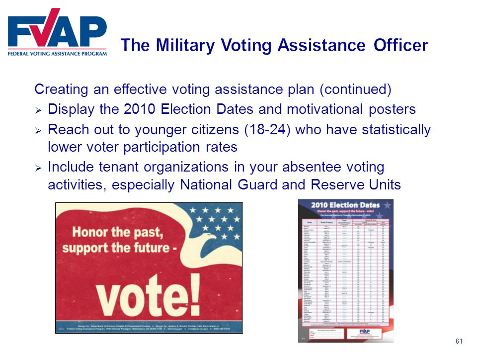 61 Creating an effective voting assistance plan (continued)  Display the 2010 Election Dates and motivational posters  Reach out to younger citizens (18-24) who have statistically lower voter participation rates  Include tenant organizations in your absentee voting activities, especially National Guard and Reserve Units