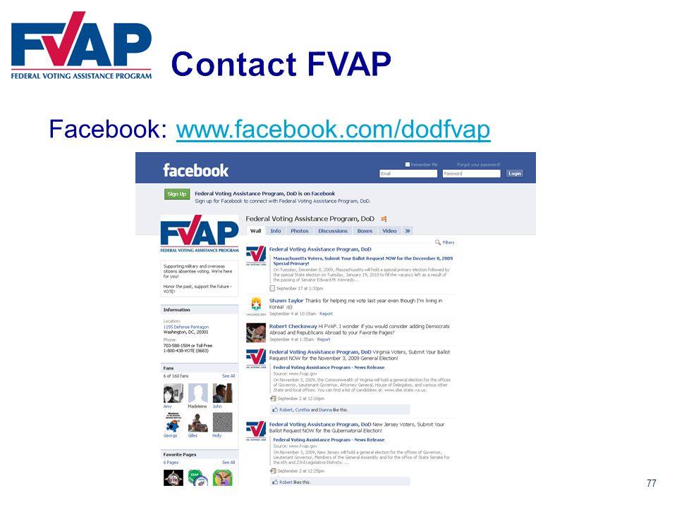 77 Facebook:www.facebook.com/dodfvapwww.facebook.com/dodfvap