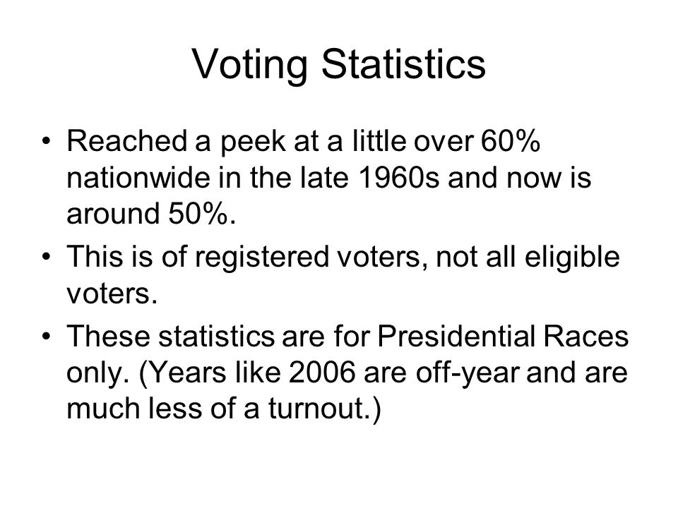 Voting Statistics Reached a peek at a little over 60% nationwide in the late 1960s and now is around 50%. This is of registered voters, not all eligib