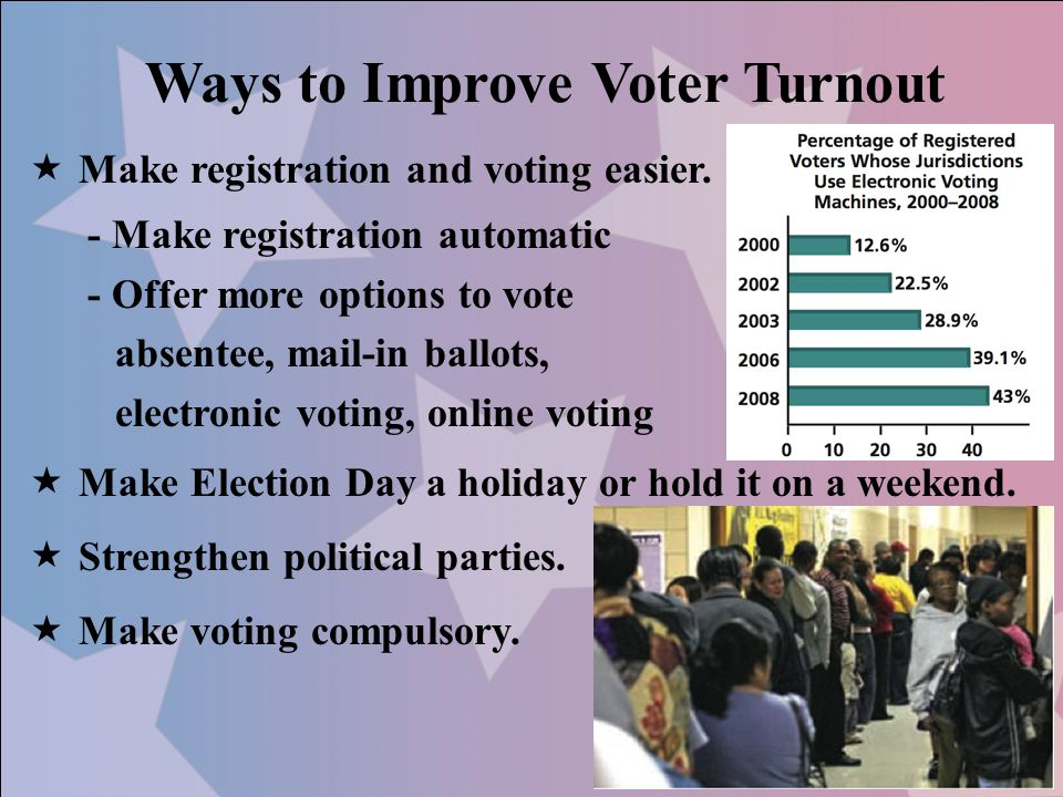 Ways to Improve Voter Turnout  Make registration and voting easier.