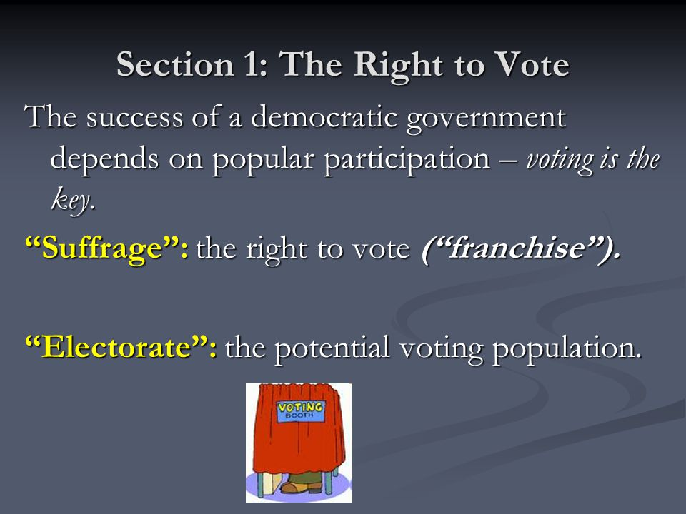 Section 1: The Right to Vote The success of a democratic government depends on popular participation – voting is the key.