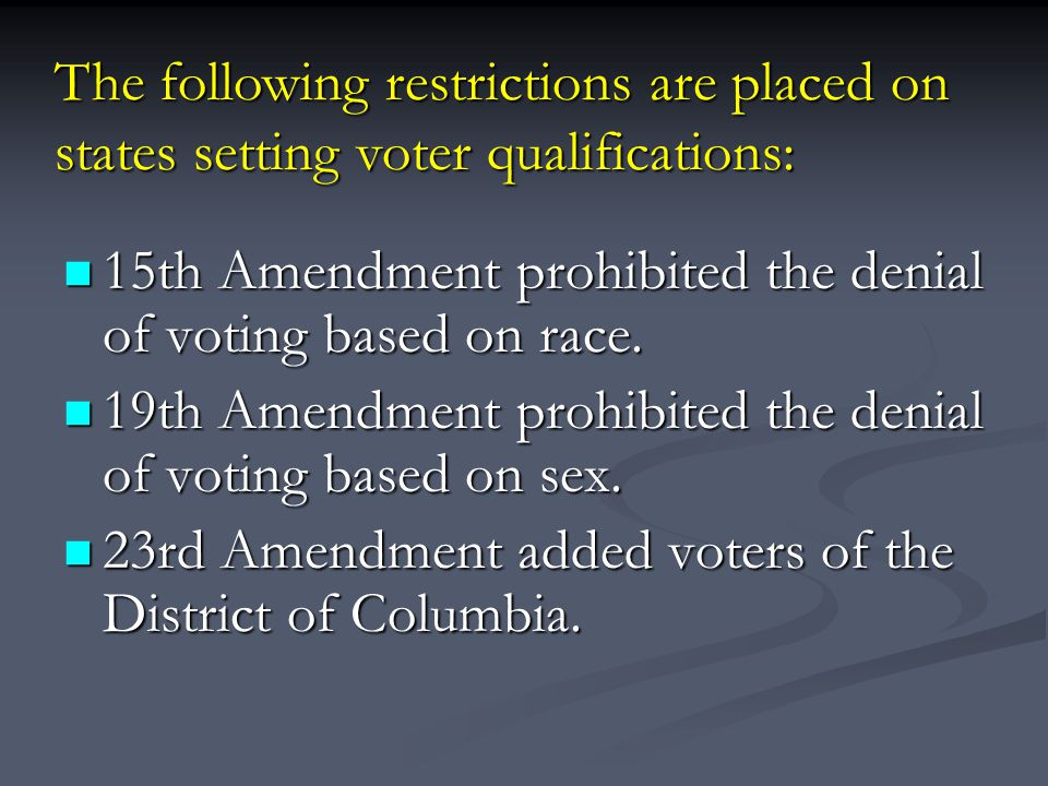 15th Amendment prohibited the denial of voting based on race.