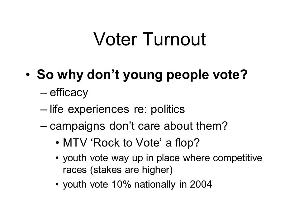 Voter Turnout So why don't young people vote.