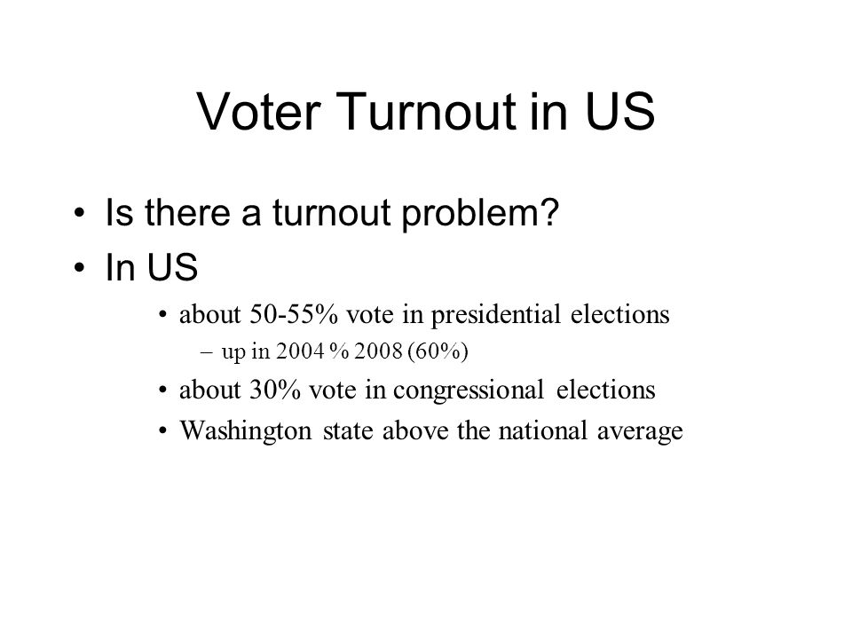 Turnout by Age Not quite linear Young voters lowest turnout Youth vote up in 2004 (red line) & 2008 charles franklin data