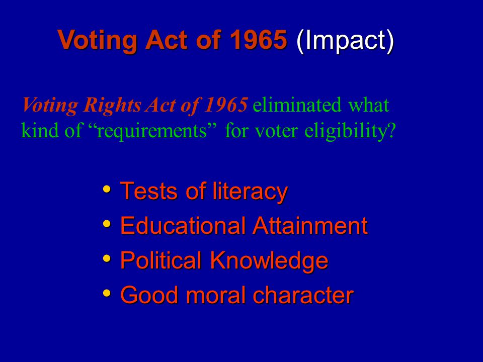 Tests of literacy Tests of literacy Educational Attainment Educational Attainment Political Knowledge Political Knowledge Good moral character Good mo