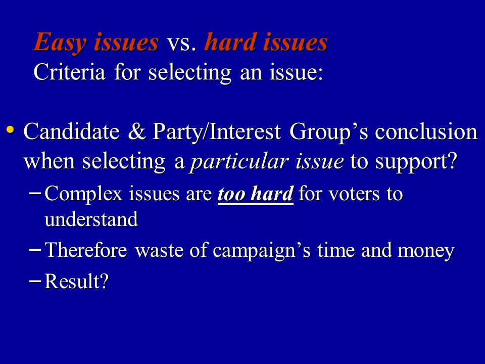 Easy issues vs. hard issues Criteria for selecting an issue: Candidate & Party/Interest Group's conclusion when selecting a particular issue to suppor