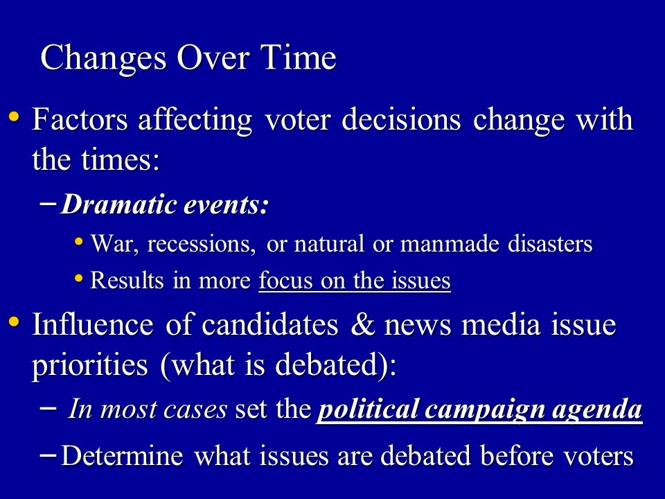 Changes Over Time Factors affecting voter decisions change with the times: Factors affecting voter decisions change with the times: – Dramatic events: