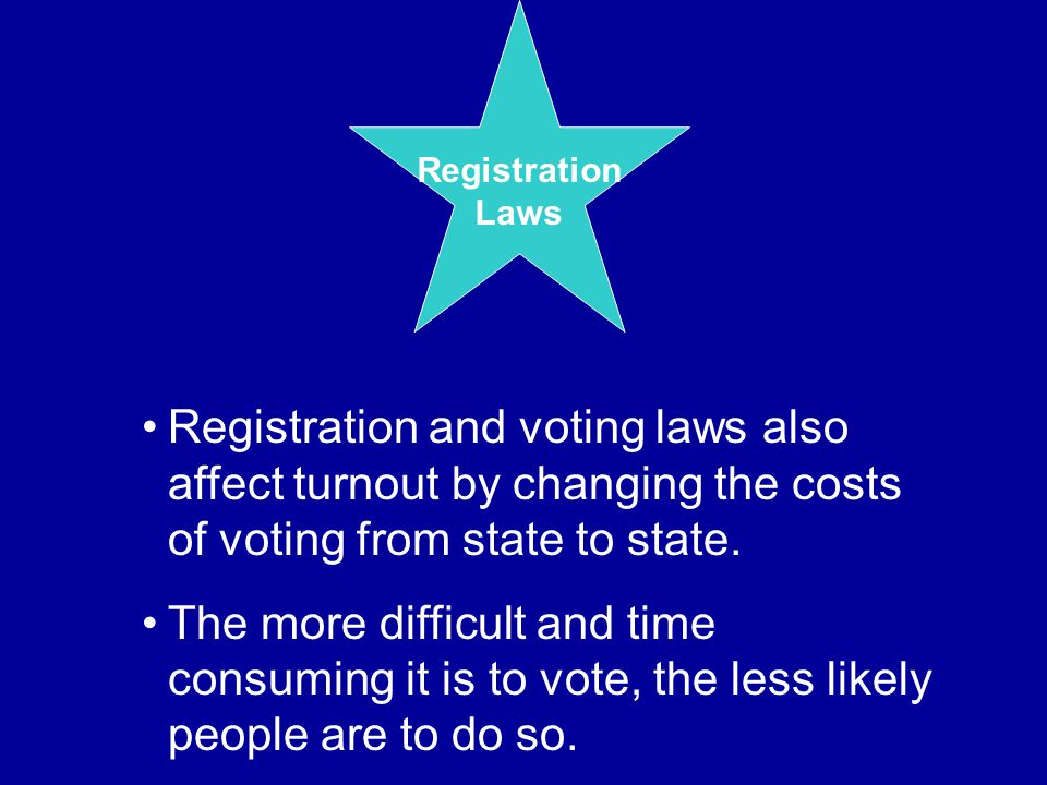 Registration Laws Registration and voting laws also affect turnout by changing the costs of voting from state to state. The more difficult and time co