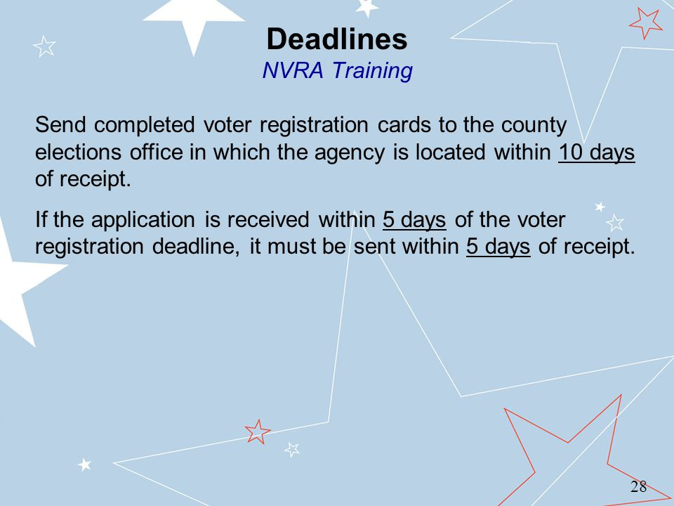Deadlines NVRA Training 28 Send completed voter registration cards to the county elections office in which the agency is located within 10 days of receipt.
