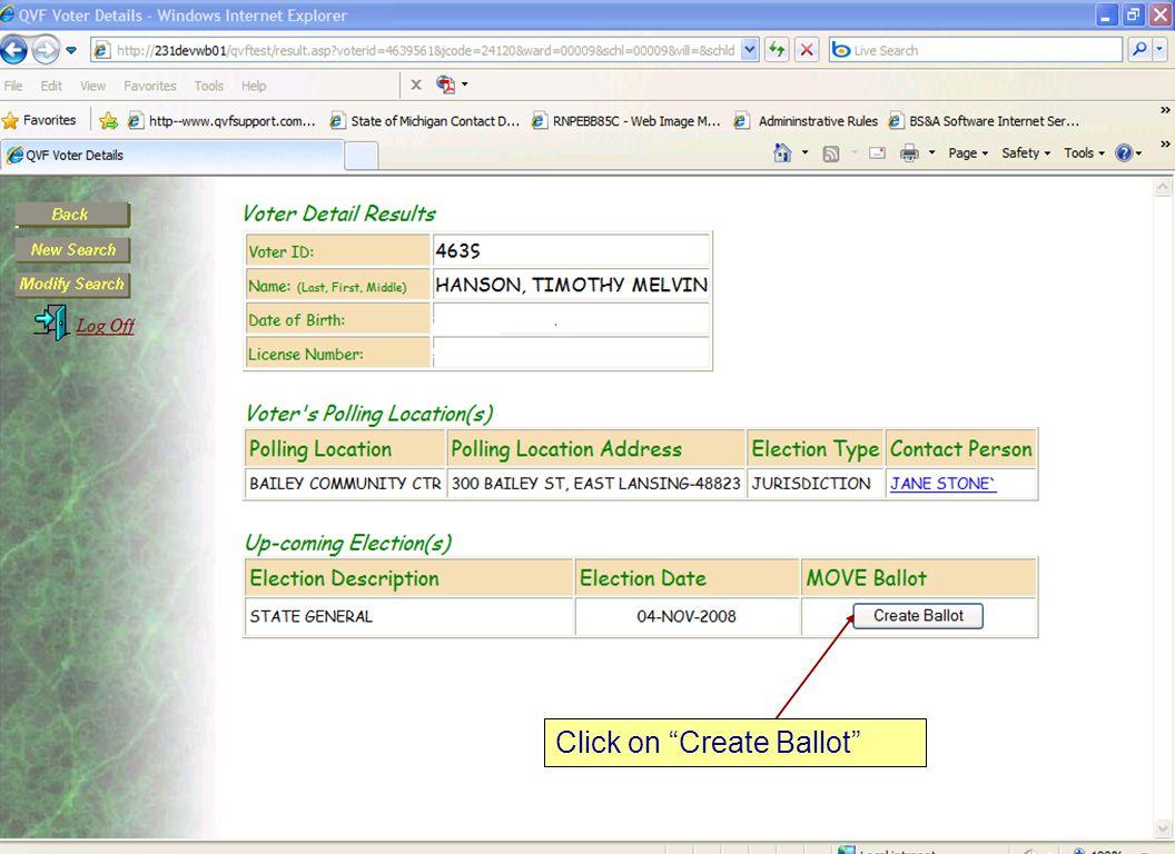 "10 Click on ""Create Ballot"""