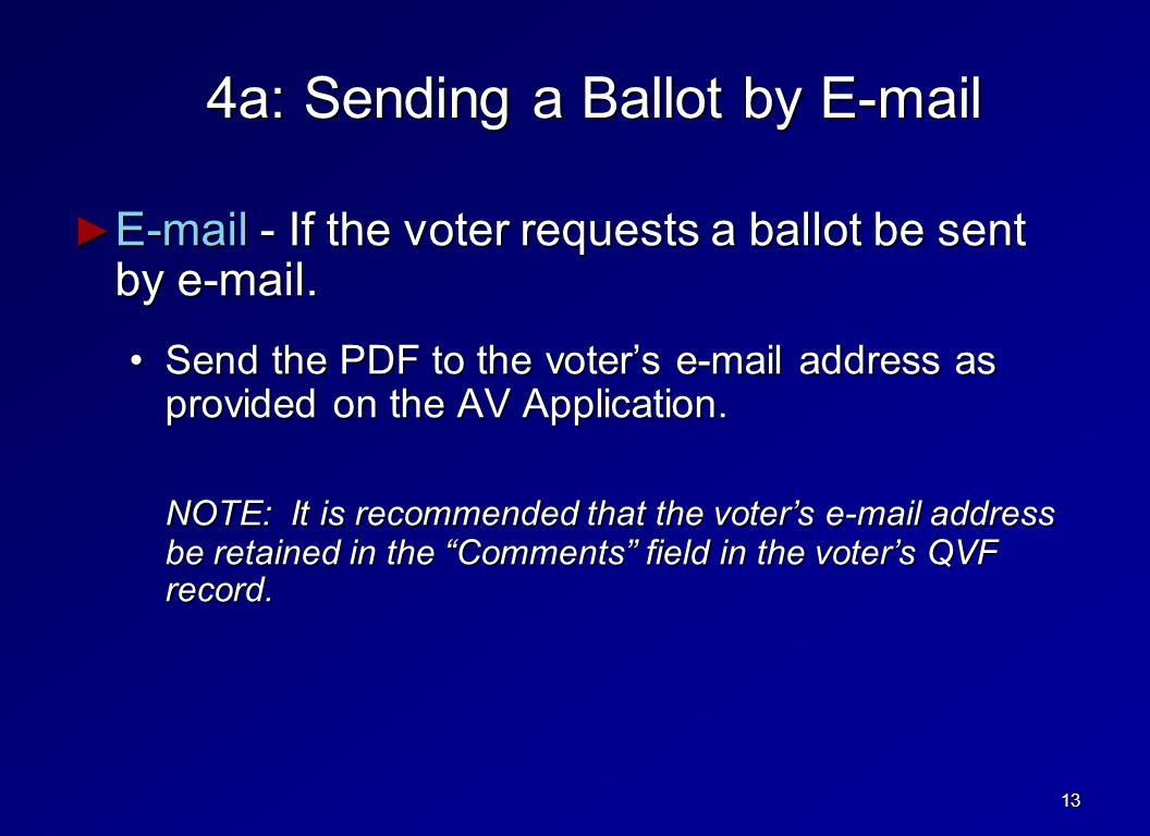 4a: Sending a Ballot by E-mail ► E-mail - If the voter requests a ballot be sent by e-mail.