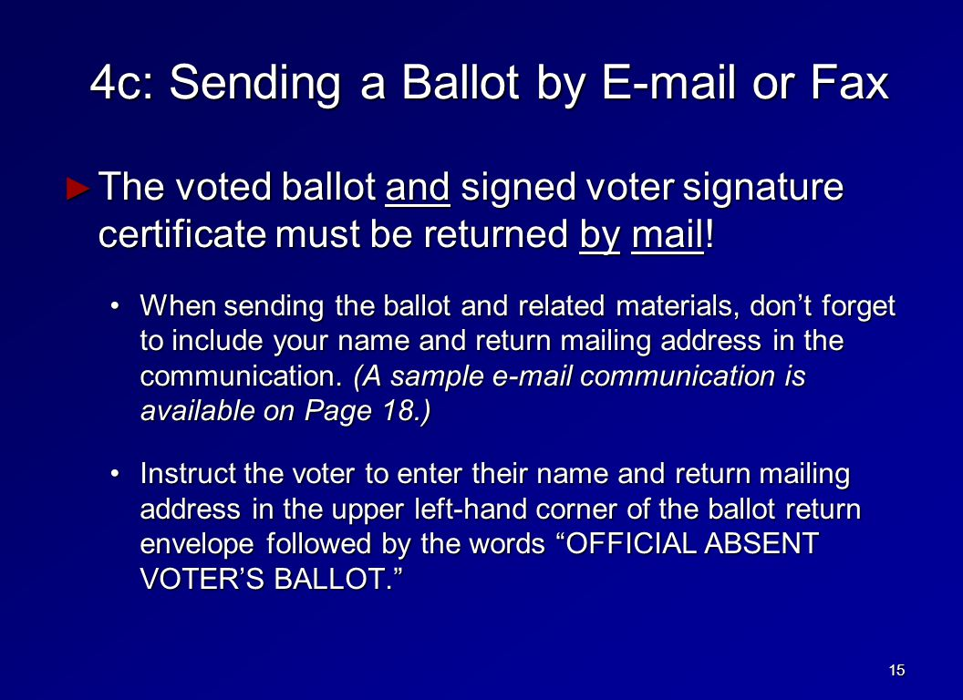 4c: Sending a Ballot by E-mail or Fax ► The voted ballot and signed voter signature certificate must be returned by mail.