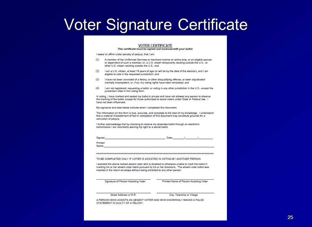 Voter Signature Certificate 25