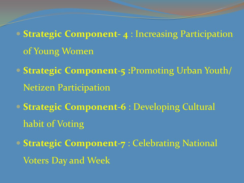 Strategic Component-8 : Youth Participation beyond Voting Strategoc Component-9: Recognizing the contribution of volunteers Strategic Component-10: Putting Implementation, Monitoring and Evaluation mechanism in place