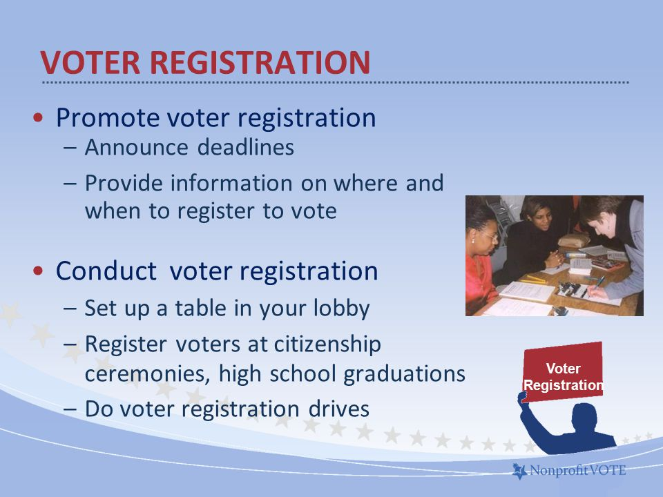 Promote voter registration –Announce deadlines –Provide information on where and when to register to vote Conduct voter registration –Set up a table in your lobby –Register voters at citizenship ceremonies, high school graduations –Do voter registration drives VOTER REGISTRATION Voter Registration