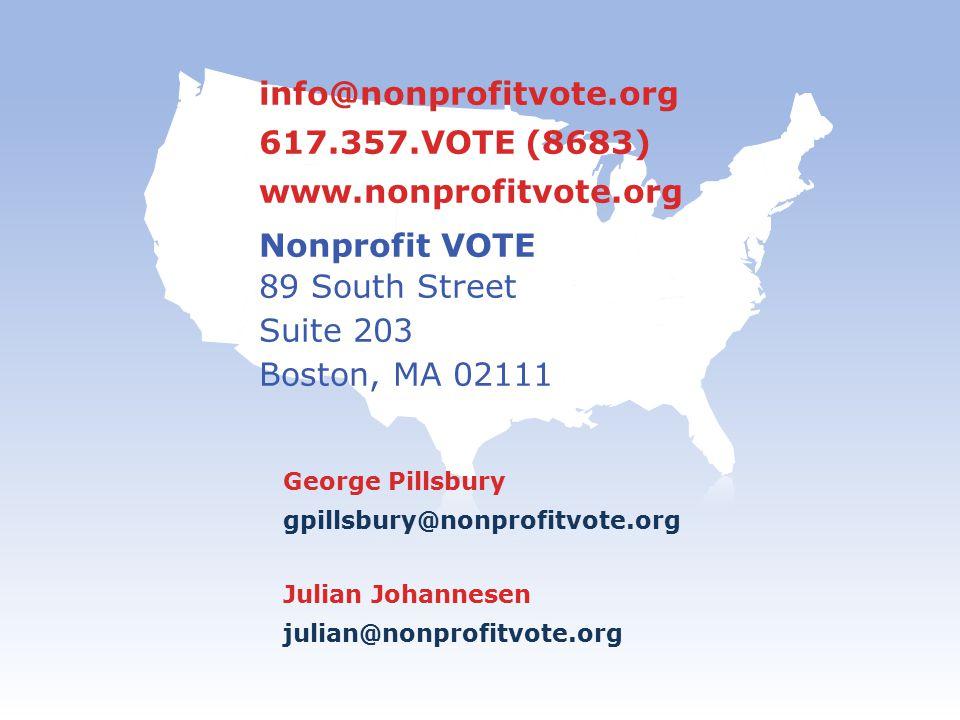 info@nonprofitvote.org 617.357.VOTE (8683) www.nonprofitvote.org Nonprofit VOTE 89 South Street Suite 203 Boston, MA 02111 George Pillsbury gpillsbury@nonprofitvote.org Julian Johannesen julian@nonprofitvote.org