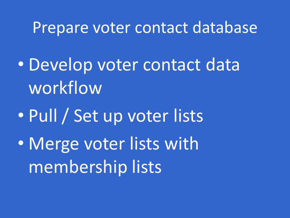 Prepare voter contact database Develop voter contact data workflow Pull / Set up voter lists Merge voter lists with membership lists