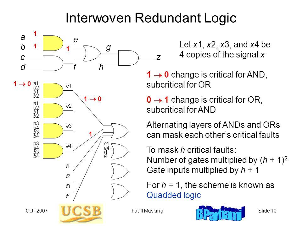 Oct. 2007Fault MaskingSlide 10 Interwoven Redundant Logic Let x1, x2, x3, and x4 be 4 copies of the signal x 1  0 b c a d f g e h z a1a2b1b2a1a2b1b2