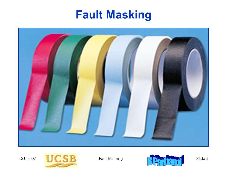 Oct. 2007Fault MaskingSlide 3 Fault Masking