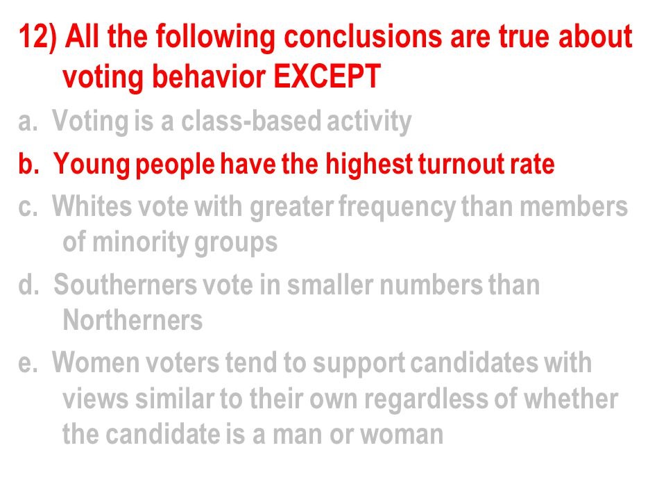 12) All the following conclusions are true about voting behavior EXCEPT a.