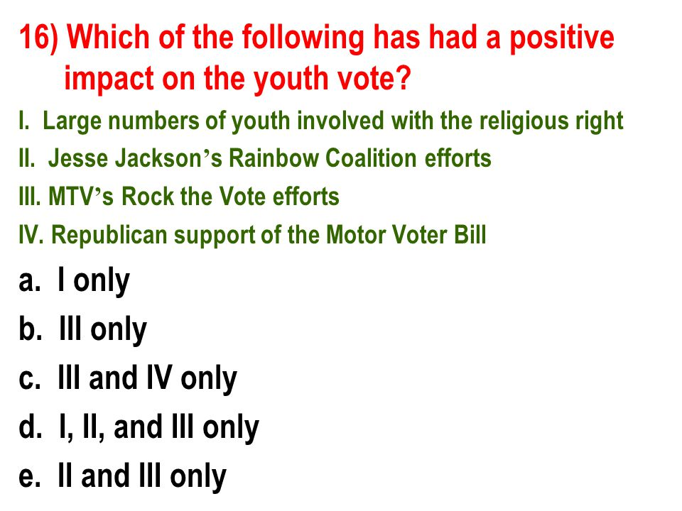 16) Which of the following has had a positive impact on the youth vote.