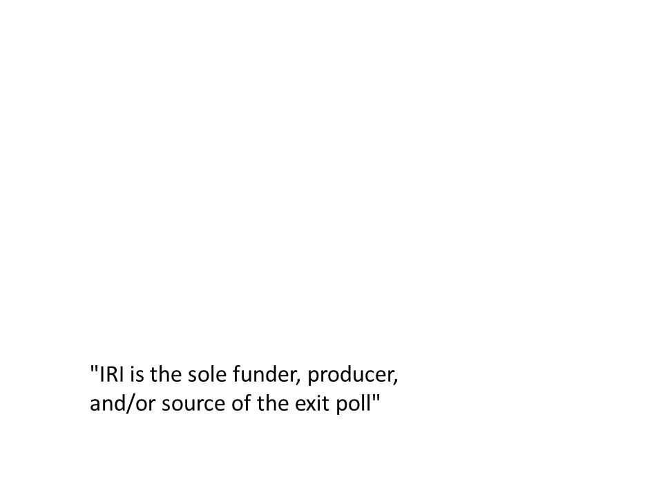 IRI is the sole funder, producer, and/or source of the exit poll