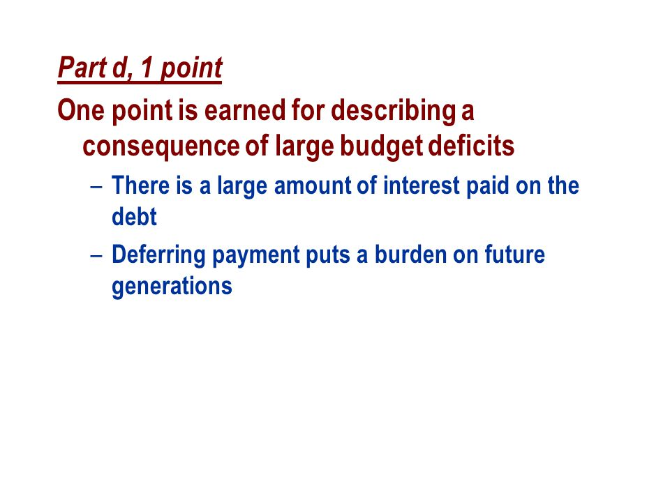 Part d, 1 point One point is earned for describing a consequence of large budget deficits – There is a large amount of interest paid on the debt – Def