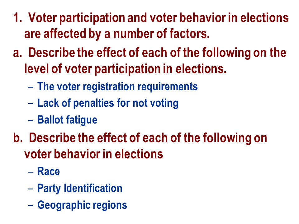 1. Voter participation and voter behavior in elections are affected by a number of factors. a. Describe the effect of each of the following on the lev