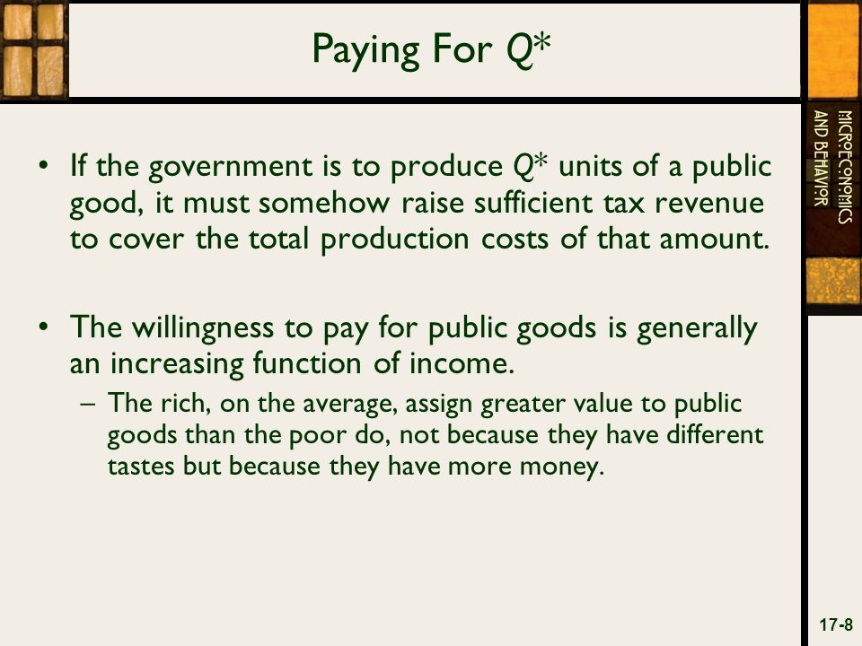 Paying For Q* If the government is to produce Q* units of a public good, it must somehow raise sufficient tax revenue to cover the total production costs of that amount.
